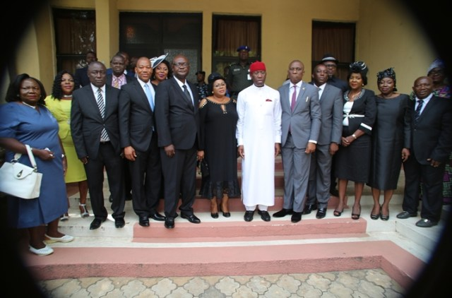 Delta State Governor, Senator Ifeanyio Okowa (6th right); Chief Judge, Justice Marshall Umukoro (5th right); President, Customary Court of Appeal, Justice Stella Ogene (6th left) in a group photograph with the newly appointed Judges shortly after their swearing-in ceremony in Asaba.