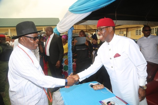Delta State Governor, Senator Ifeanyi Okowa (right) and Immediate Past Governor of Delta State, Dr. Emmanuel Uduaghan