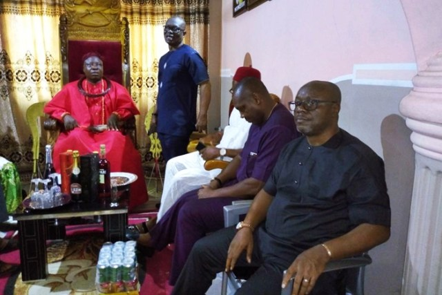 Former Secretary to Delta State Government, Comrade Ovuozourie Macaulay at the Palace Odion of Emevor, His Royal Majesty, Solomon Onovoghakpo