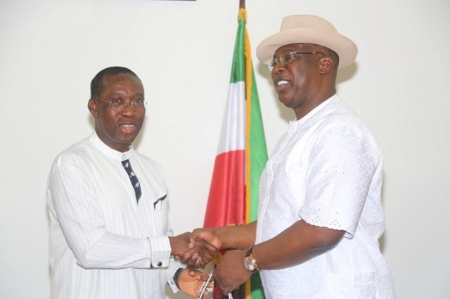 Delta State Governor, Senator Ifeanyi Okowa (left) and Chairman, Governing Council of Maritime University Okerenkoko, Chief Timipre Sylva, during a courtesy call on the Governor, in Government House Asaba