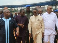 Delta State Governor, Senator Ifeanyi Okowa (2ndright); his Deputy, Barr. Kingsley Otuaro (right); Commissioner for Works, Chief James Augoye (2ndleft) and Commissioner for Housing, Arch. Joseph Ogeh, during the Governor's Inspection at Asaba Township Stadium, Delta State.