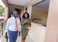 Edo State Governor, Mr. Godwin Obaseki (left); Senior Special Assistant to the Governor on Skills Development and Job Creation/Head, EdoJobs, Mrs. Dare Ukinebo, during the governor's inspection of ongoing reconstruction of the Institute of Continuing Education, Benin City, to serve as an Innovation Hub in Benin City.