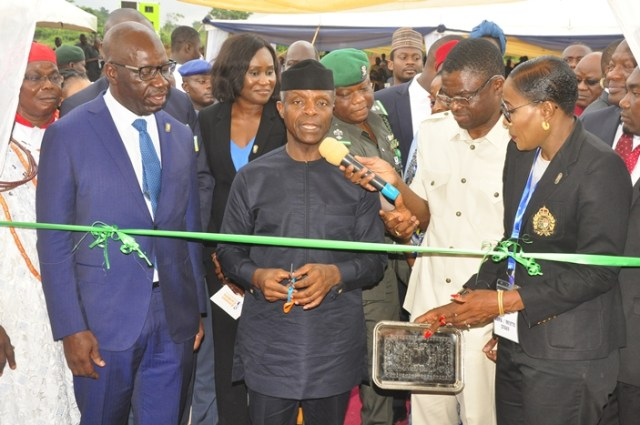 L-R: Edo State Governor, Mr. Godwin Obaseki; Vice President, Prof. Yemi Osinbajo; Deputy Governor, Rt. Hon. Philip Shaibu; and Executive Chairman, Edo Development and Property Agency (EDPA), Ms Isoken Omo, during the ground-breaking ceremony of the 1800 housing-unit Emotan Gardens project in Ikpoba-Okha Local Government Area, Edo State, on Thursday, June 14, 2018.