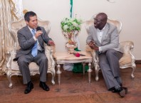 Edo State Governor, Mr. Godwin Obaseki (left); and the Chinese Ambassador to Nigeria, Dr. Zhou Pingjian; during the courtesy visit by the Ambassador, to the governor, at Government House, in Benin City.