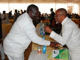 Hon. Ochor Ochor and Rt. Hon. Omatsone Ferdinand Ken Exchanging Pleasantries During the ACNPN Inaugural Lecture and Award in Asaba