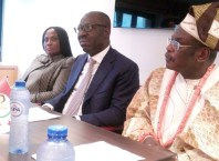 Edo State Governor, Mr. Godwin Obaseki (middle); Commissioner for Justice and Chairman, Edo State Taskforce Against Human Trafficking, Prof. Yinka Omorogbe (left); and President, Great Benin Origins, Engr. Isaac Igbinosun, during the Town Hall Meeting, in Brussels, Belgium.