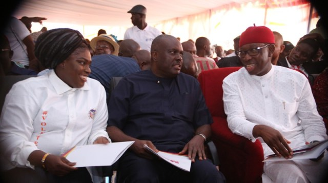 Delta State Governor, Senator Ifeanyi Okowa (right); former Governor, Chief James Ibori (middle), and Hon Erhiatake Ibori- Suenu, founder of the Starlite Hope Initiative, during the Commissioning of the Free Women Clinic at Ugbenu in Ethiope West LGA.