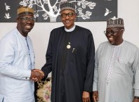 L-R: Edo State Governor, Mr. Godwin Obaseki, President Muhammadu Buhari and Nassarawa State Governor, Umaru Tanko Al-Makura at the 31st Ordinary Session of the Assembly of Heads of Government of the African Union (AU), held in Mauritania.