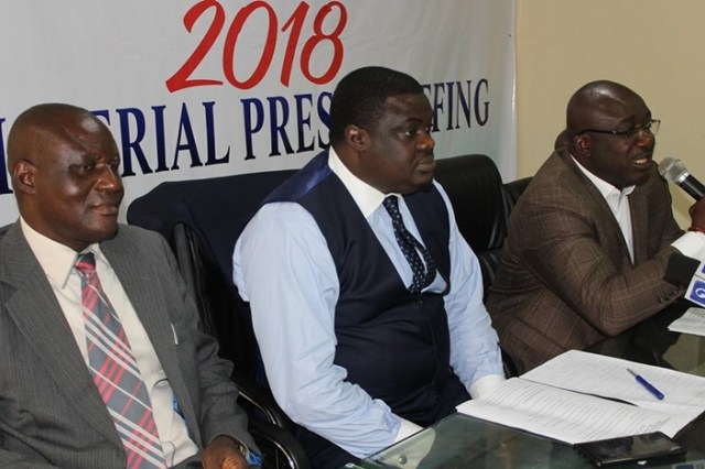 Delta State Commissioner for Youth Develoment, Hon. Oghenekaro Ilolo (Middle) during the 2018 Ministerial Press Briefing