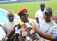 President of Athletics Federation of Nigeria (AFN) Hon. Ibrahim Sholy Gausau (left); Minister of Sport, Solomon Dalong (middle) and Chairman State Sports Commission, Tony Okowa, during the Inspection of Stephen Keshi Stadium, towards the Preparation of the 21stAfrican Senior Athletics Championship Game in Asaba, Delta State.