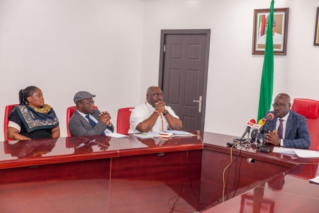 Edo State Governor, Mr. Godwin Obaseki (right); Chairman, 2018 Edo State Festival for Arts and Culture (EDOFEST) Committee and Commissioner for Arts, Culture, Tourism and Diaspora Affairs, Osaze Osemwegie-Ero (2nd right), and Commissioner for Justice and Attorney General, Prof. Yinka Omorogbe (left), during the inauguration of the 2018 EDOFEST Committee at Government House in Benin City, on Tuesday, August 14, 2018.