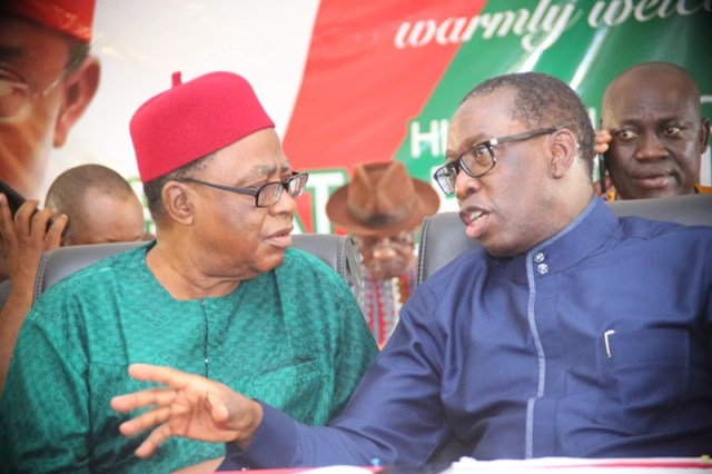 Delta State State Governor, Senator Ifeanyi Okowa (right), and former Deputy Governor, Chief Benjamin Elue, during the Delta North Senatorial District Peoples Democratic Party (PDP) meeting in Agbor, Ika South Local Government Council.