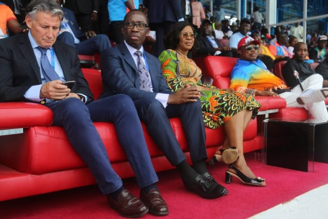 Delta State Governor, Senator Ifeanyi Okowa (2nd left); his wife, Dame Edith (2nd right); Governor of Anambra State, William Obiano (right) and the  President of International Association of Athletics Federation (IAAF), Lord Sebastian Coe, during the Opening Ceremony of the 21st African Senior Athletics Championship Asaba 2018.