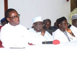 From left; Delta State Governor, Senator Ifeanyi Okowa; the Immediate Past National Chairman PDP, Senator Ahmed Makarfi and Kaduna State PDP Chairman, Felix Hyat, during PDP Meeting held in Government House Asaba.