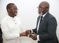 Delta State Governor, Senator Ifeanyi Okowa (left), and the President, Nigeria Football Federation (NFF), Mr Amaju Pinnick during a courtesy call by the later on the Governor in his office in Asaba.
