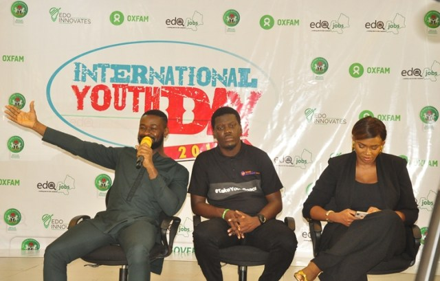 L-R: Music producer, Osabuohien Osaretin, also known as Sarz; beneficiary of EdoJobs, Lucky Idiase; and Aituaje Iruobe, popularly known as Waje, at the Open Space for Youth, organised to mark the 2018 International Youth Day, at the Edo Innovation Hub in Benin City, Edo State.