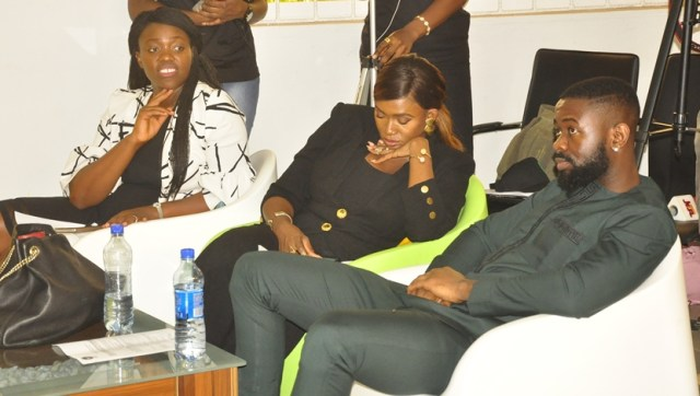 L-R: Head of EdoJobs and Senior Special Assistant to Edo State Governor on Skills Development and Job Creation, Mrs. Ukinebo Dare; musician, Aituaje Iruobe, popularly known as Waje; music producer, Osabuohien Osaretin, also known as Sarz, during the Open Space for Youth event, organised to mark the 2018 International Youth Day, at the Edo Innovation Hub in Benin City, Edo State.