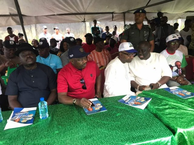 Hon. Tim Owhefere, Barr. Ovie Agas (Middle) and Rt. Hon. Sheriff Oborevwori
