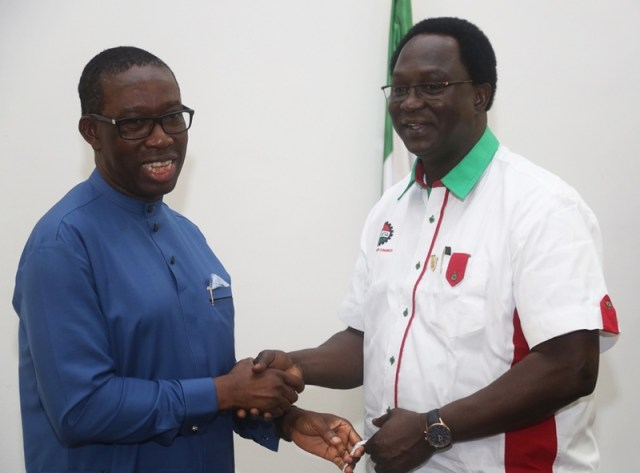 Delta State Governor, Senator Ifeanyi Okowa (left) and the National President of the Nigeria Labour Congress (NLC), Comrade Ayuba Wabba, during a courtesy call on the Governor, in Government House Asaba.