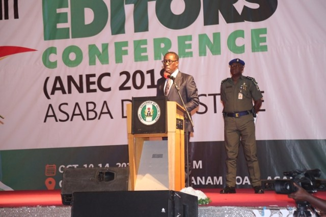 Governor ifeanyi Okowa speaking at the 14th All Nigeria Editors Conference in Asaba