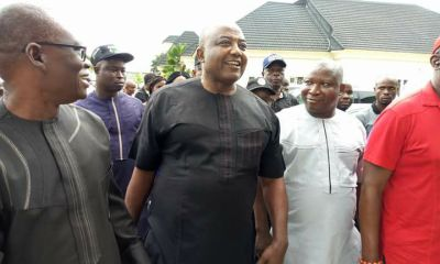 Hon. Leo Ogor, Minority Leader, Federal House of Representatives (Middle) flanked by Isoko PDP Chieftains