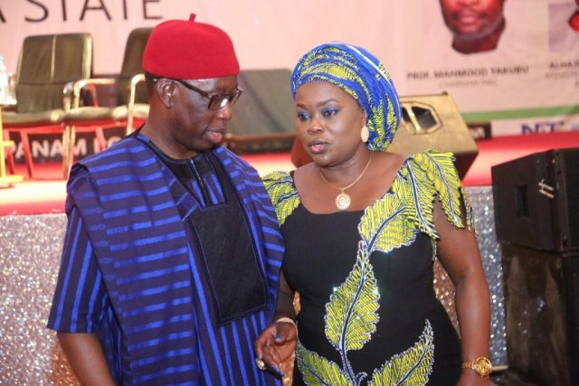 Delta State Governor, Senator Ifeanyi Okowa (left) and President of Nigeria Guild of Editors, Mrs. Funke Egbemode, during the 14th Conference of the Nigerian Guild of Editors, held in Asaba.