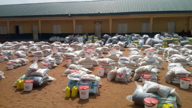 Relief Materials Donated by Nigerian Red Cross Society to Flood Victims in Delta State