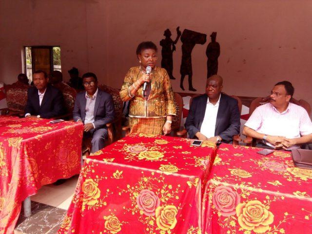 Mrs. Funke Osinbodu, Managing Director, BEDC speaking during the Visit of the Senate Committee on Power to Issele-Uku