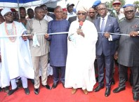 Delta State Governor, Senator Ifeanyi Okowa (2nd right); former President of the Federal Republic of Nigeria, His Excellency, Chief Olusegun Obasanjo (3rd right); Senator James Manager (3rd left); Hon. Festus Okoh (2nd left) and Other's, during the Commissioning of the Dualized Old Lagos/Asaba Road, from Emuhu Junction to Agbor-Obi Junction, Delta State.