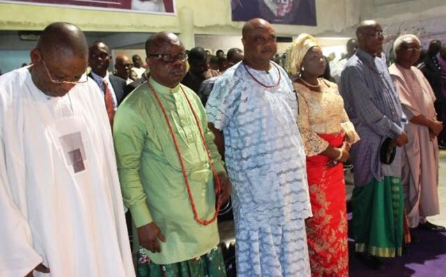 Jones Erue, Emmanuel Uduaghan, Great Ogboru, Omo-Agege, Others at the Church Service by Delta APC