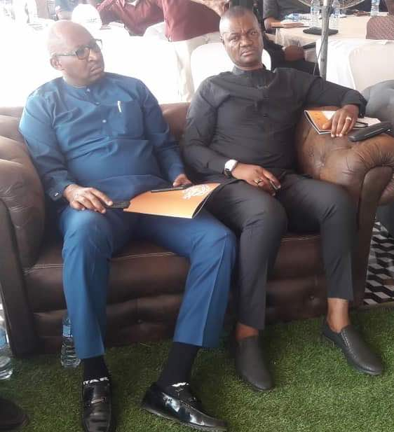 Delta State Commissioner, Ministry of Oil and Gas, Hon Freeman Fregene with Hon Patrick Obayagbon, former Chief of Staff, Edo State at the site reopening and ground breaking of the Nigerian Petroleum Development Company Cooperative Society Real Estate Project in Benin City, Edo state