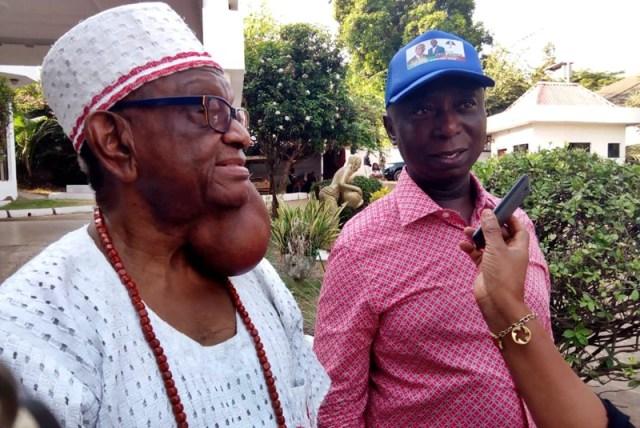 L-R: Iyase of Asaba, Chief Patrick Isioma Goodluck Onyeobi and Anioma Star Prince, Hon. Ned Nwoko