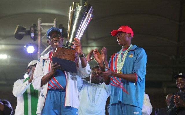 Delta State Governor, Senator Ifeanyi Okowa Lifts the Trophy Won by Team Delta at the 2018, 19th National Sport Festival held in Abuja