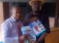 Chairman, NUJ, Delta State, Comrade Michael Ikeogwu with Second Member of the State Post-Primary Education Board, Dr Henry Ofa