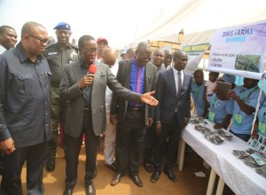 Delta State Governor, Senator Ifeanyi Okowa (2ndleft), introducing some of the products to the Vice Presidential Candidate of the Peoples Democratic Party (PDP), Chief Peter Obi (left), during the Job Creation Exhibition in Asaba.