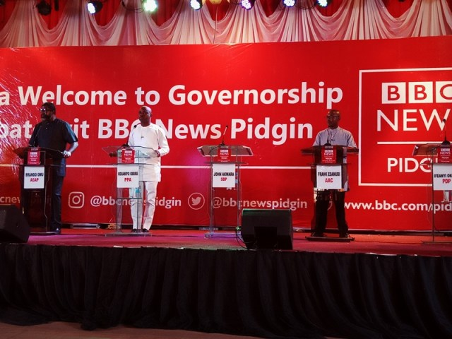 All Grand Alliance Party (AGAP), Brando Omu; Progressive Peoples Alliance (PPA), Odiakpo Obire and African Action Congress (AAC), Frank Esanubi at the BBC News Pidgin Gubernatorial Debate for Delta State Candidates