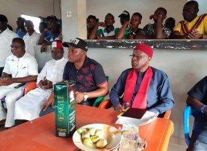 From right: The Political leader of PDP Ward 2, Ndokwa East LGA of Delta State, Pharmasist Paul Enebeli; Commissioner for Lands and Survey, Hon Chika Ossai and other Peoples Democratic Party leaders in the Ward during the campaign/ sensitization by the PDP in the Ward ahead the February and March 2019 general elections.