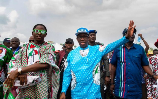 (R-L) Governor Ifeanyi Okowa and Rt. Hon. Friday Ossai Osanebi at an Event