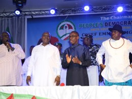 Delta State Governor, Senator Ifeanyi Okowa (2nd right); former Governor of Delta State, Chief James Ibori (right); Delta State Deputy Governor, Barr. Kingsley Otuaro (2nd left) and PDP National Vice Chairman, South-South Zone, Sir Emma Ogidi, during Delta South PDP Senatorial Meeting, held in Warri