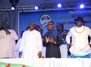 Delta State Governor, Senator Ifeanyi Okowa (2ndright); former Governor of Delta State, Chief James Ibori (right); Delta State Deputy Governor, Barr. Kingsley Otuaro (2ndleft) and PDP National Vice Chairman, South-South Zone, Sir Emma Ogidi, during Delta South PDP Senatorial Meeting, held in Warri