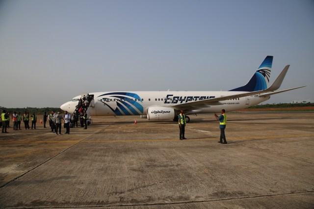 Photographs shows Egyptian Football Team Boarding EgyptAir from Asaba International Airport back to Egypt.