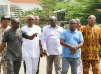 From left: Former Secretary to Delta State Government, Comrade Macaulay Ovuozourie, Chief Lawrence Oshegbu, Delta Information Commissioner, Mr Patrick Ukah, Chief Solomon Ogba and Chief Ighoyota Amori after the victory part in Delta State Government House Chapel.