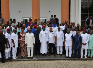 Governor Ifeanyi Okowa flanked by Gubernatorial Candidates of Various Parties that Contested the 2019 Governorship Election in Delta State during a Congratulatory Visit on the Governor at Government House, Asaba