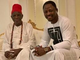 L-R: HRM Goldring Ugbome, the Igwe of Okpai kingdom and Rt. Hon. Friday Osanebi, Deputy Speaker, Delta Assembly