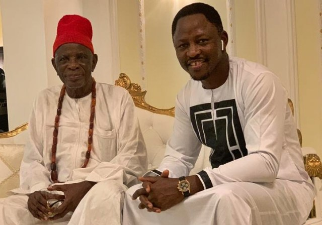 L-R: HRM Golding Ugbome, the Igwe of Okpai kingdom and Rt. Hon. Friday Osanebi, Deputy Speaker, Delta Assembly