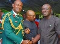 Representative of Delta State Governor, the Honourable Commissioner for Information, Chief Patrick Ukah in a warm handshake with the Representative of the Chief of Army Staff, Maj Gen Martins Enendu at the Service of Songs and Night of Tributes for late Maj Gen (Olorogun) David Ejoor (Rtd), GCON, OFR on Monday, April 29, 2019 in Lagos.