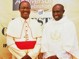 L-R: Bishop of Issele-Uku Diocese, Most Rev. Dr. Michael Odogwu Elue and Rev. Fr. Jude Onyebadi during the 25th Ordination Thanksgiving of the later.