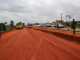 A section of the on going dualization of the Sector C of the Ughelli/ Asaba road