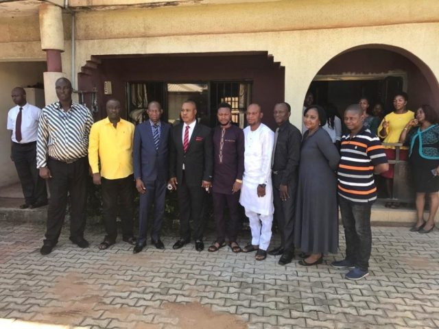 Chief Julius Takeme flanked by Management and Staff of Delta State Ministry of Urban Renewal