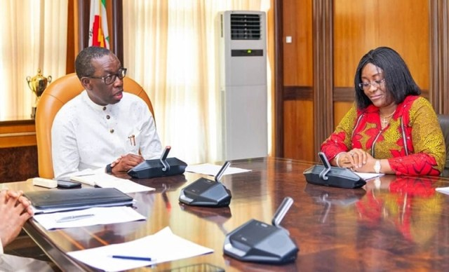 Delta State Governor, Senator Ifeanyi Okowa (left) and Dr. Evelyn Ngige, during a visit on the Governor, by the Replacement Campaign and Other Malaria Interventions, in Government House Asaba.
